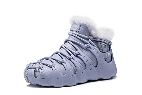 Onemix Haute Hiver Sport Chaussures Mode Sneakers Trois Façons De Porter Des Chaussures Romaines Gris-blanc