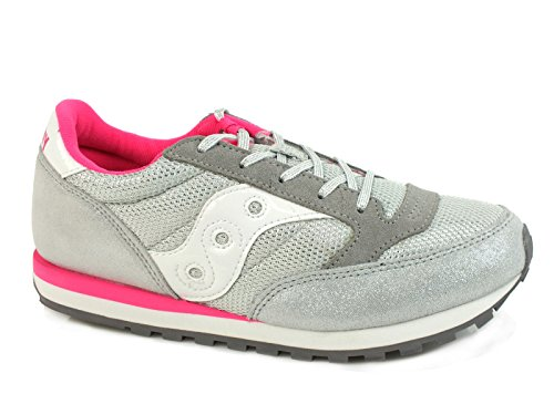 Saucony Girls Jazz Original Sneaker (Little Kid/Big Kid), Silver/Pink, 4 M US Big Kid by Saucony