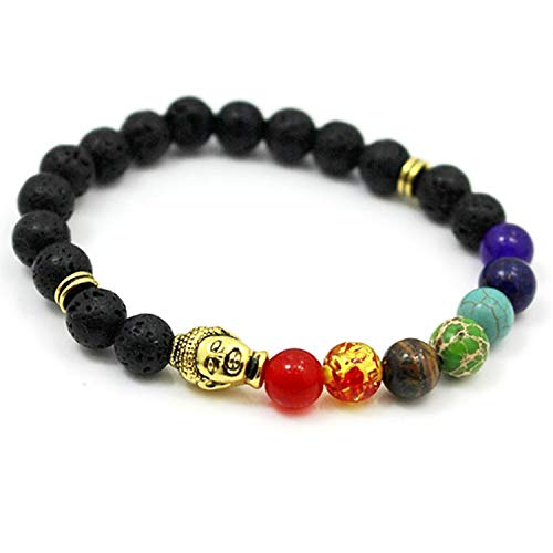 Small Oranges 2019 Newst 7 Chakra Bracelet Men Black Lava Healing Balance Beads Reiki Buddha Prayer Natural Stone Yoga Bracelet for Women,Buddha and Lava