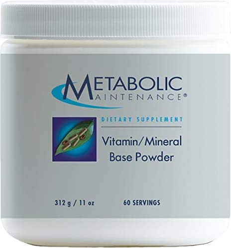 Metabolic Maintenance Vitamin Mineral Base Powder - Iron Free Multivitamin with Active B Vitamins + Chelated Minerals (312 Grams, 60 Servings)