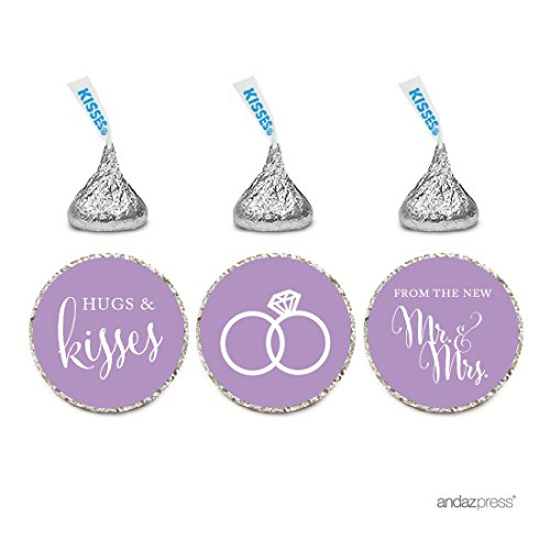 Andaz Press Chocolate Drop Labels Stickers, Wedding Hugs & Kisses from the New Mr. & Mrs., Lavender, 216-Pack, For Bridal Shower Engagement Hershey's Kisses Party Favors Decor