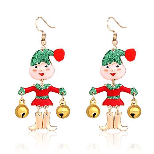 HSWE Christmas Earrings for Women Xmas Jingle Bell Dangle Earrings Christmas Jewelry for Women Thanksgiving Gift Festival Cosplay Accessories