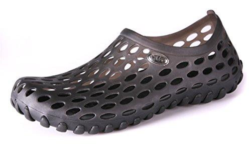 - clapzovr Mens Comfort Walking Water Shoes, Pool Shower Saltwalter Sandals Black 9 D(M) US
