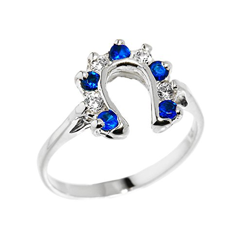 Western Horseshoe Ring - Ladies 925 Sterling Silver White and Blue CZ Alternating Stone Lucky Horseshoe Ring (Size 8)