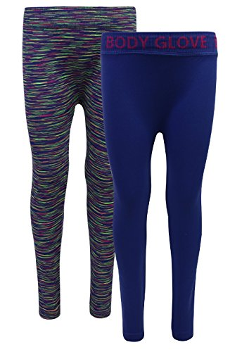 Body Glove Girl's 2 Pack Athletic Stretch Active Leggings, Royal, 7/8'' by Body Glove