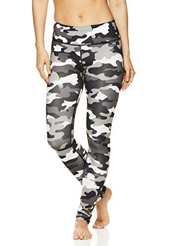 Nicole Miller Active Women's Flekka Printed Leggings - Performance Activewear Workout Pants - Stark White, (Active Run Straight Pant)
