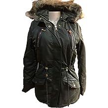 YMI New Anorak Fur Lining Olive Green Color Drawstring Hoodie Jacket Coat-ML