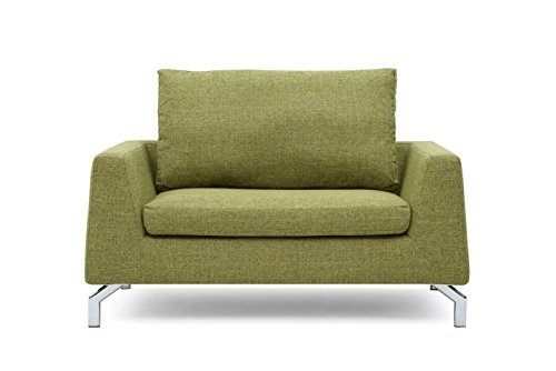 US Pride Furniture Modern Fabric Loveseat with Reversible Back Pillow, lemon Green
