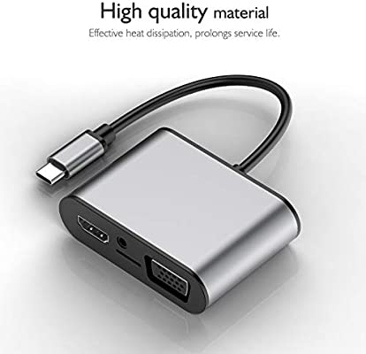 TW8R 8 in 1 USB-C//Type-C to 3 USB 3.0 USB-C//Type-C HDMI +VGA Interfaces HUB Adapter with Micro SD Card Slot /& 3.5mm AUX Color : Grey Durable Grey