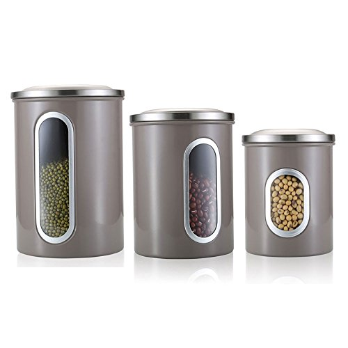 Fortune Candy Kitchen Canisters Set Of 3,Stainless Steel Canister  Set,Nested Food Storage Canisters With Airtight Lids And Clear Windows  (Gray)