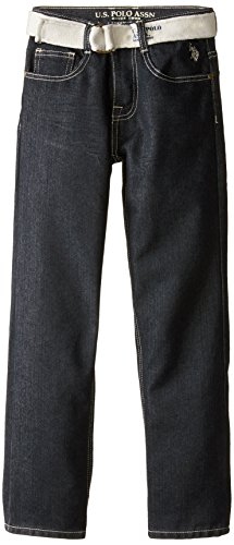 U.S. Polo Assn. Big Boys' Belted Jeans, Dark Crinkle, 10