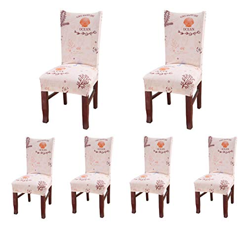SoulFeel Set of 6 Dining Chair Covers, Stretch Spandex Dining Room Protector Slipcovers (Style 54, Ocean)