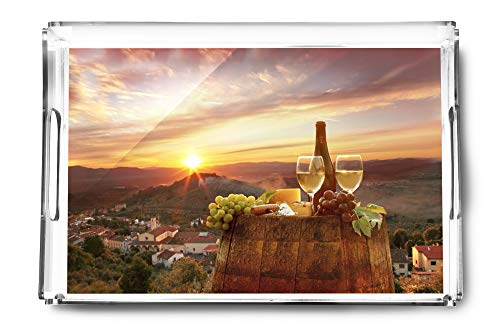 (White Wine with View of Chianti, Tuscany, Italy A-91442 (Acrylic Serving Tray))