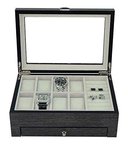 New Executive GINKO Wood Valet Storage Organizer Men's Jewelry Box (Ginko)