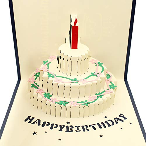 Custom Imprinted Envelopes - Baoby Happy Birthday Cake 3D Pop Up Handmade Greeting Card, spring card, birthday card, nature card, card for love