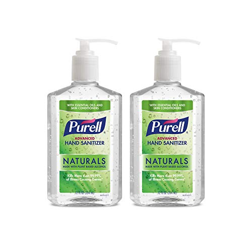 PURELL Naturals Advanced Hand Sanitizer - Hand Sanitizer Gel with Essential Oils, 12 fl oz Pump Bottle (Pack of 2) - 9629-06-EC