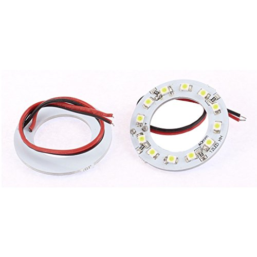 uxcell 2pcs Car 1210 12 SMD LEDs White Angel Eye Ring Headlight Lamp 40mm Dia