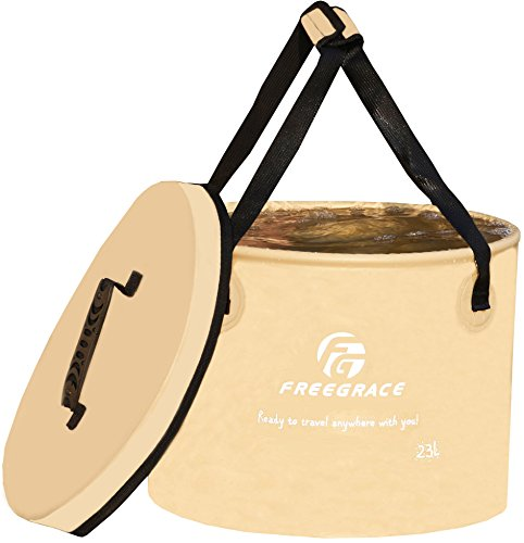 Freegrace Premium Collapsible Bucket -Multifunctional Folding Bucket -Perfect Gear for Camping, Hiking & Travel (Khaki, 23L Upgraded) -