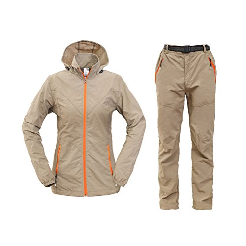Zhhlinyuan Mujeres Hiking Climbing Light Weight Quick-drying Outdoor Suits Thin Coat & Pants Khaki