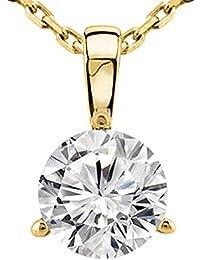 0.45 Near 1/2 Carat 14K White Gold Round Diamond Solitaire Pendant Necklace 3 Prong J-K Color I2 Clarity