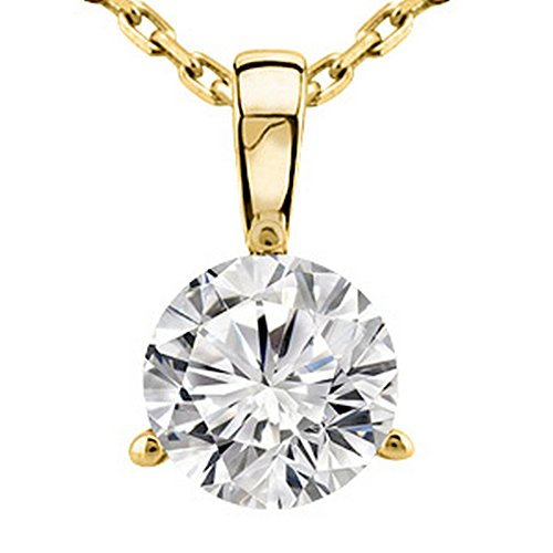 Necklace Diamond Gold Womens (0.45 Near 1/2 Carat 14K Yellow Gold Round Diamond Solitaire Pendant Necklace 3 Prong J-K Color I2 Clarity)