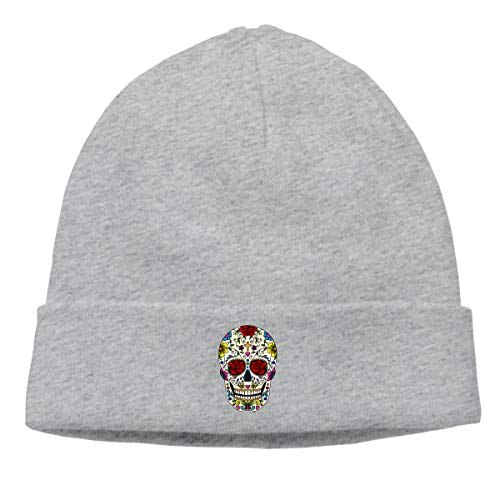 Hip-Hop Knitted Hat for Mens Womens Sugar Skull Art Unisex Cuffed Plain Skull Knit Hat Cap Head -