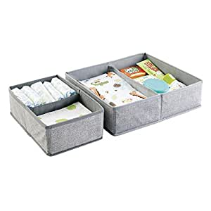 mDesign Fabric Baby Nursery Closet Organizer for Clothing, Towels, Diapers, Lotion, Wipes - Set of 2, 4 Compartments, Gray