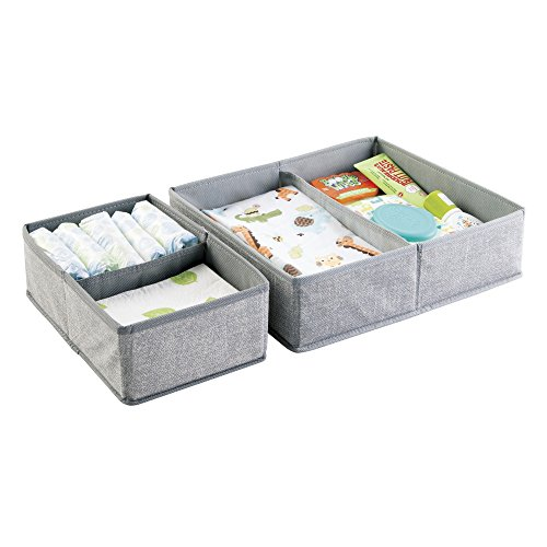 Fabric Baby Nursery Organizer for Towels, Diapers, Lotion, Wipes - Set of 2 - Gray