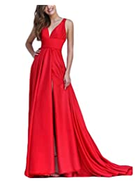 QiJunGe Simple Satin Long Sexy Low V Neck Evening Dress Formal Prom Gowns