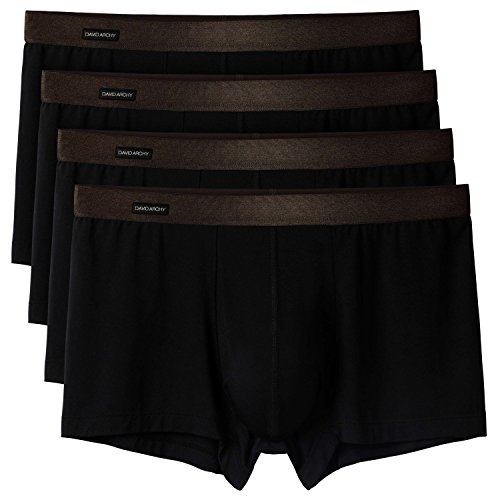 David Archy Mens 4 Pack Basic Solid Ultra Soft Underwear Bamboo Rayon Trunks