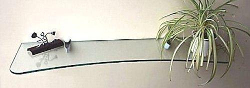 Glasregal 90 konkav Klarglas 8 mm /Cliphalterung ELEGANZA weiss