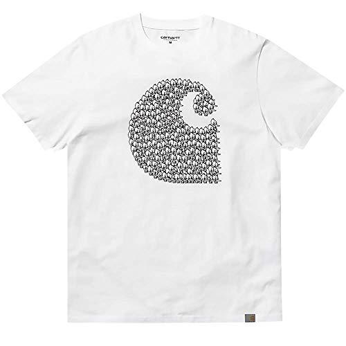 De Redondo Weiss Carhartt Para Sudadera Wip Corta Manga Básica Cuello Camiseta Hombre 3534 Con nqwqCa8gzp