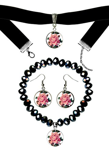 Victorian Pink Rose Black Velvet Choker, Crystal Bracelet & Earrings Set
