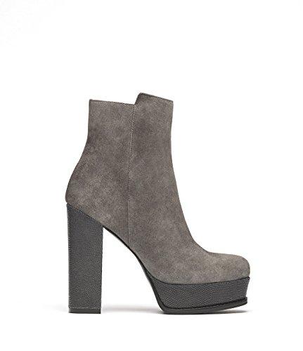 PoiLei Tara - chaussure femme / bottines en cuir à talon haut epais - compensé avec bout rond / du style des années septante 70 gris-taupe