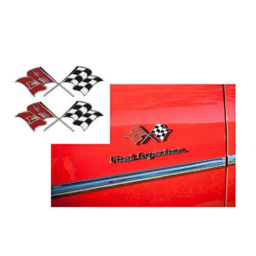 Eckler's Premier Quality Products 57-130572 Chevy Fuel Injection Fender Emblems, Crossed-Flags,