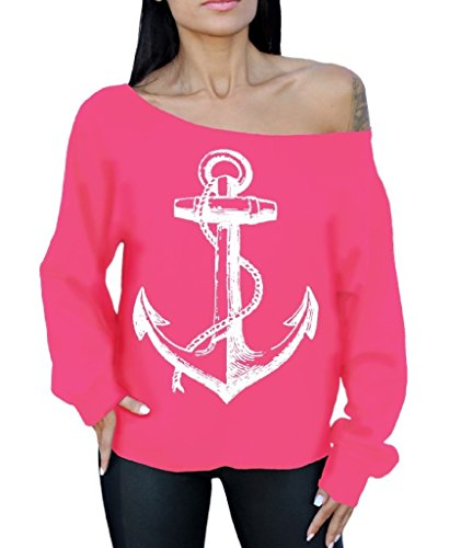 Awkward Styles Awkwardstyles Anchor White Off The Shoulder Oversized Sweatshirt Marine Sailor L Pink (Style Anchor)