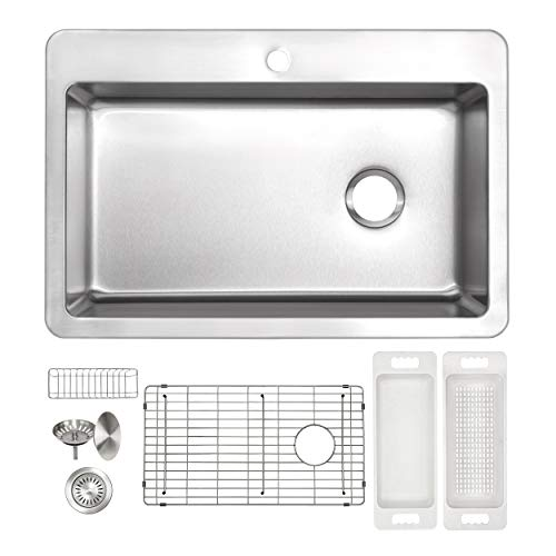 - ZUHNE Verona 33 x 22 Single Bowl 1 Hole Drop-In Top or Over Mount Offset Drain 16 Gauge Stainless Steel Kitchen Sink W. Grate Protector, Caddy, Colander Set, Drain Strainer and Mounting Clips