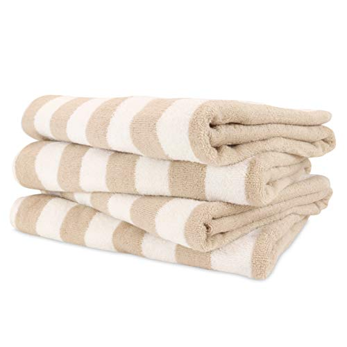 (Arkwright California Cabana Striped Oversized Beach Towel Pack of 4 | Ringspun Cotton Double Yarn Strength | Perfect Pool Towel, Beach Towel, Bath Towel (Extra Large 30 x 70 Inch, Beige))