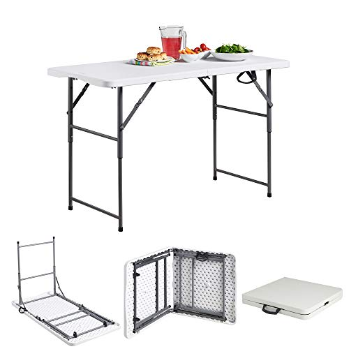 VonHaus 4ft Folding Table with Adjustable Height Portable Table: Picnic/Garden/Tailgate/Beach/Camping/Functions/Buffet/BBQ – Max Load 440lbs, Coated Steel & Extra Strong Durable Plastic