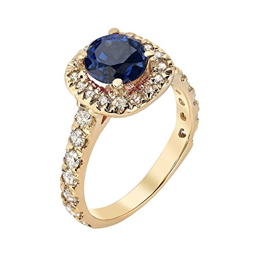 Diamond Engagement Ring Solitaire White Yellow Gold With Blue Sapphire Center Stone Ring Jewelry Round Blue Sapphire Genuine Gemstone Natural 14k 18k White Yellow Gold 0.80ct G-H (Zippo Stack)