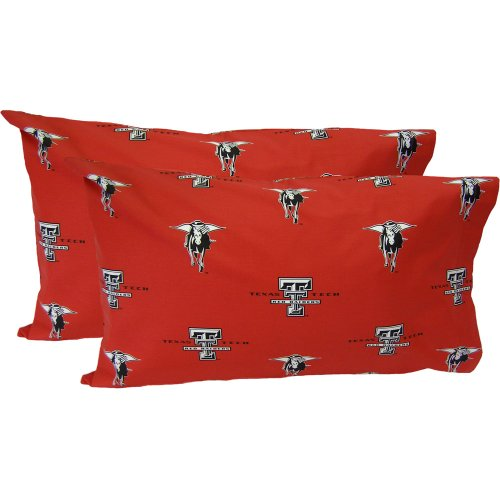Texas Tech Pillowcase (College Covers Texas Tech Red Raiders Pillowcase Pair - Solid (Includes 2 Standard Pillowcases))