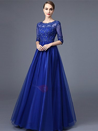 5892ab6763 Home Brands Julang Dresses Julang Women s Lace Long Sleeve Floor Length  Evening Dress (Royal Blue