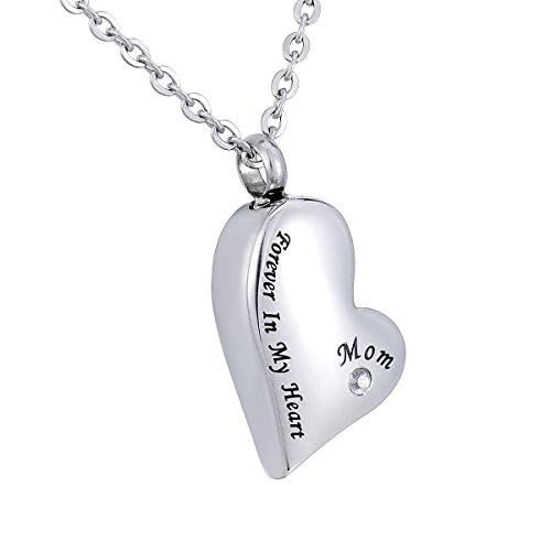 HooAMI Cremation Jewelry Diamond Forever in My Heart Mom Memorial Urn Necklace