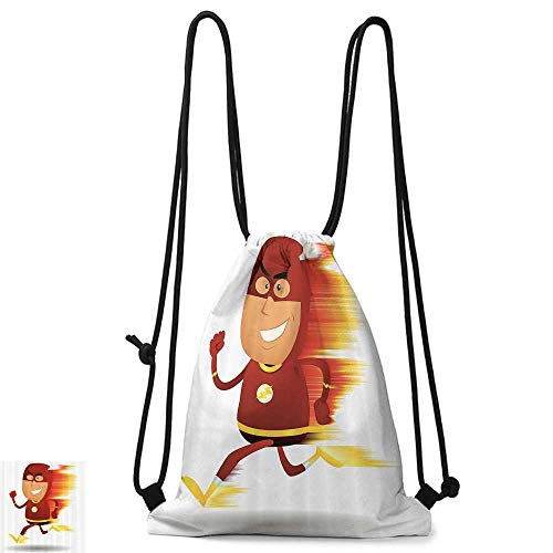 Gym backpack Superhero Lightning Bolt Man with Cape and Mask Fast as Light Fun Cartoon Character Art Print W14