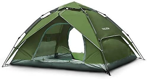 NACATIN 3-4 Person Family Camping Tent,Automatic Instant Pop Up Waterproof PU3000mm 210D Oxford Material Family-Sized Groups Camp Beach Tents