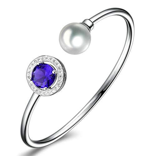 preeyanan Gorgeous Blue Sapphire Crystal Fashion Girls Pearl Bangles Bracelet Cuff -