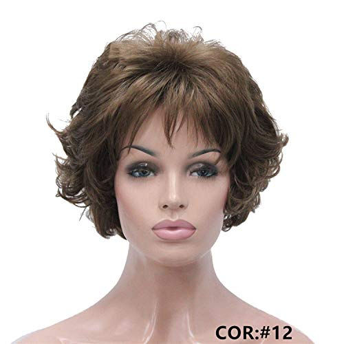 Short Curly Dark Auburn Synthetic Hair Full wig Women's Thick Wigs For ()