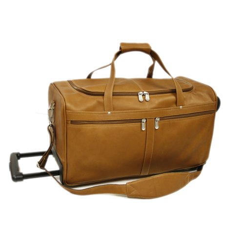 Piel Leather Duffel On Wheels, Saddle, One Size by Piel Leather