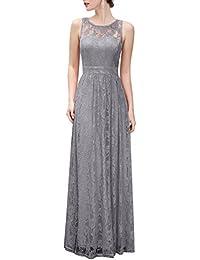 Women's Floral Lace Long Bridesmaid Dress Party Gown