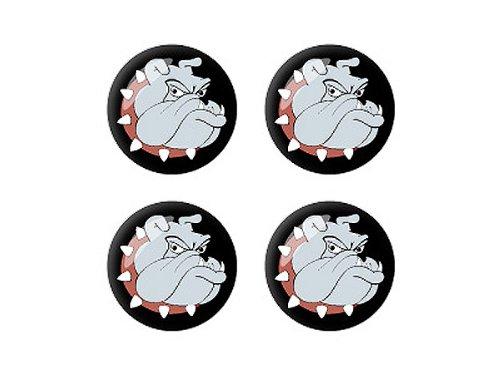 Bulldog Bull Dog - 3D Domed Set of 4 Stickers Badges Wheel Center Cap